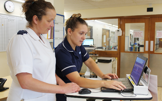 Registered Staff Nurse, Kerry Buckley and Deputy Ward Sister, Zara-Kate Delamere are just two of the staff making use of the technology on the Haematology Ward